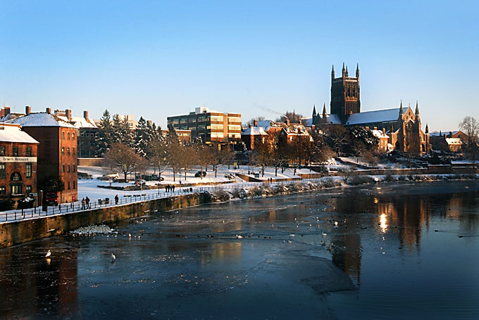 Worcester Cathedral and the frozen River Severn Christmas 2010
