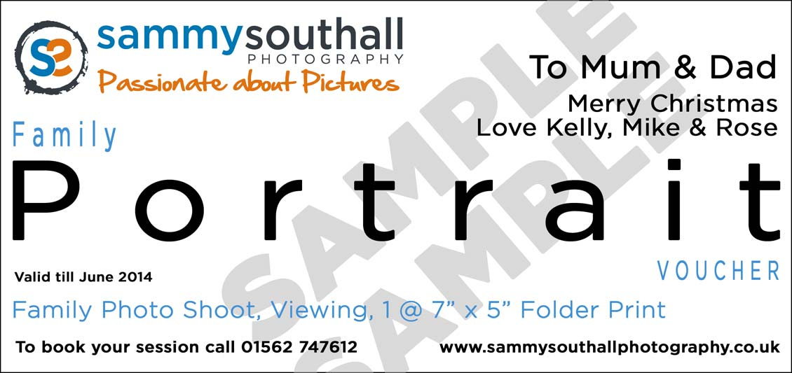 portrait gift voucher from sammy southall photography